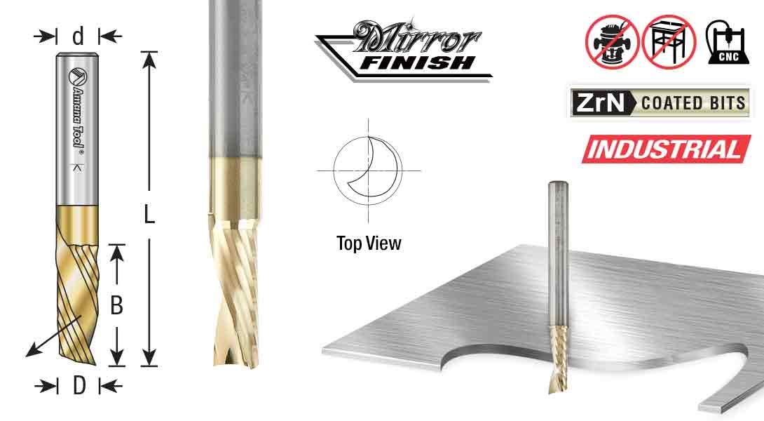 Amana Tool 51786-Z SC Spiral O Single Flute Aluminum Cutting 1//4 D x 3//4 CH x 1//4 SHK x 2 Inch Long Down-Cut ZrN Coated Router Bit with Mirror Finish