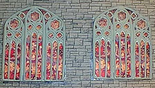 Langley Models Large Church Windows + stained glass OO Scale Parts UNPAINTED F131