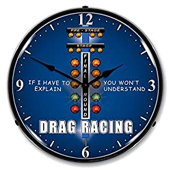 New Drag Racing Retro Vintage Style Advertising Backlit Lighted Clock - Ships Free Next Business Day to Lower 48 States