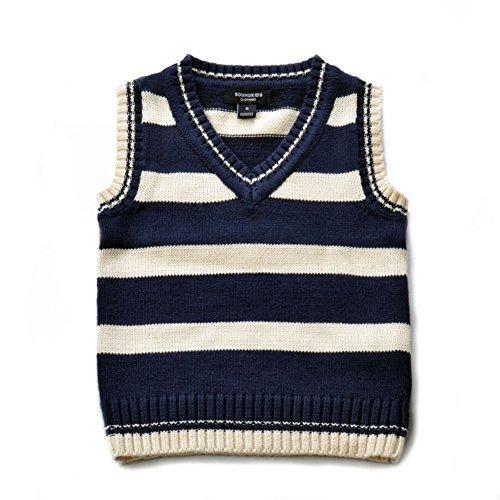 Boys Cable knit Vest Winter Cotton V-Neck Sleeveless Strip Sweatshirt Sweater Pullover Kids Warm Vest 5-6 Years Old Dark Blue