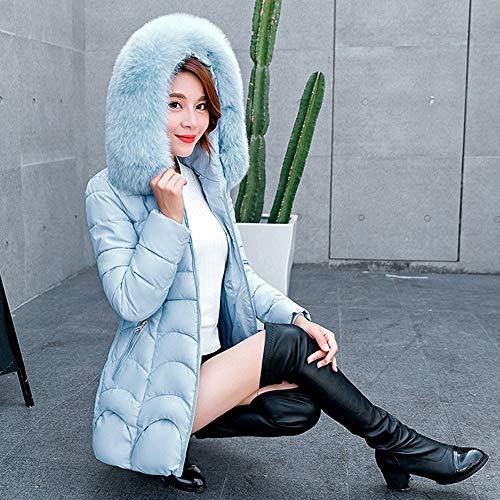 Capuche Longues Sunenjoy Bleu Blouson Zip 2 Grande Fourrure Femme Doudoune Col Manteau Épais Taille À Manches 11p7aFwx