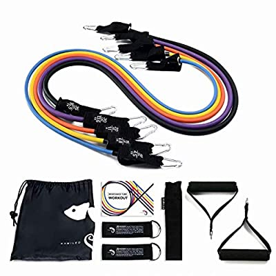 Kamileo 110 LBS Resistance Bands Set, Exercise Stretch Bands with Handles, 5 Stackable Exercise Bands with Door Anchor, Ankle Straps, Guide Book, 12pcs Heavy Resistance Tube Bands