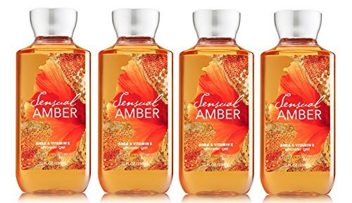 Bath & Body Works Signature Collection Pleasures Shower Gel Sensual Amber 10 Fl Oz - Lot of 4