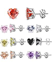 Women Cubic Zirconia Stud Earrings Set 7 Pair Week Use Silver Plated Stainless Steel Women's Earrings