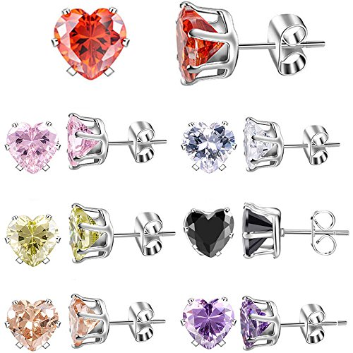 XZP Brilliant Week Use Zirconia Stud Earrings Heart Love Jewelry 7 Pair Stainless Steel Women's Earrings Sets 6mm