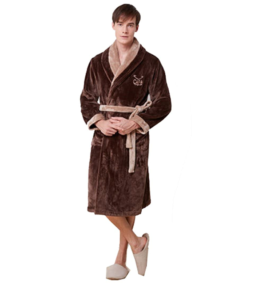 Km Men Autumn and Winter Thicken Long Flannel Color Blocking Bathrobe