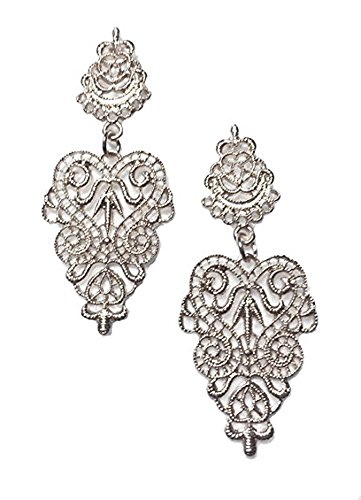 Silver Tone Victorian Filigree Lace Antique Vintage Style Wedding Bridal Prom Formal Earrings