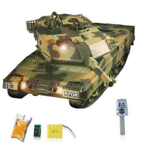 German Leopard 2A5 Airsoft KFOR-Edition - RC ferngesteuerter Panzer mit Airsoft Schuss, Sound und Beleuchtung, Modell im Maßstab 1:24 inkl. Akku, Ladegerät, Fernsteuerung und Munition