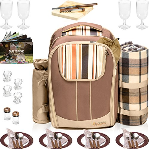 Picnic Backpack Basket Wine Cooler | Stylish All-in-One Portable Picnic Bag for 4 with Complete Tableware Set, Waterproof Fleece Picnic Blanket & Detachable Insulated Cooler, Perfect for Family Picnic - Wine Backpack