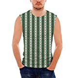 Mens Workwear Geometric Sleeveless Midweight T- Shirt,Pale Vertical Lines in VAR