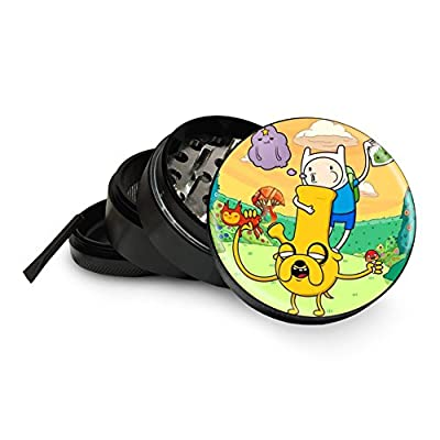"Adventure Time Herb Grinder 4 Piece Premium Black Aluminum Aerospace Metal Grinders 2.5"" 63mm - Easily Grind Herbs and Spices! Gift Box"