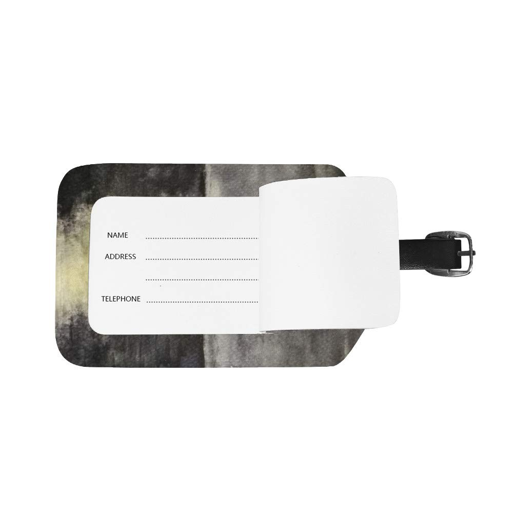 Luggage Tags PU Leather Tags Suitcase Labels Travel Bag With Privacy Cover Landscape Boat Man Lonely Ocean Creative Pattern Printing 2pcs