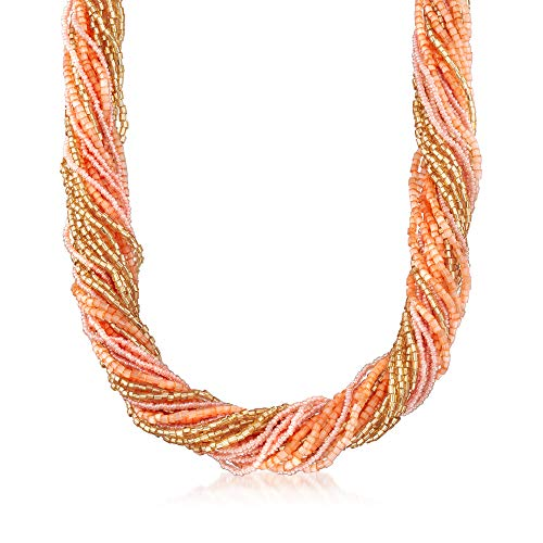 Ross-Simons Italian Multicolored Murano Glass Bead Torsade Necklace in 18kt Yellow Gold Over Sterling Silver