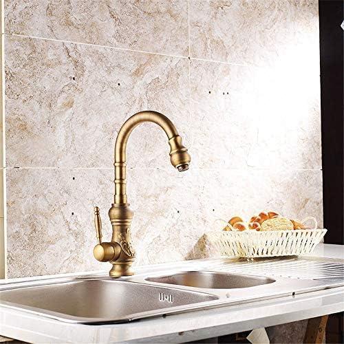 CLJ-LJ バスルームのシンクの蛇口シングルハンドルの浴室キッチン洗面蛇口防水ストア銅ブラックキッチンシンクアンティーク単穴ホット&コールド