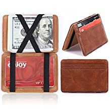 Pershoo Magic Billfold, Vintage Credit Card Holder Slot ID Case Money Clip Minimalist Wallet, PU Leather Wallet Slim Magical Flip Bifold Wallet Purse + [Exquisite Gift Bag] - Light Coffee