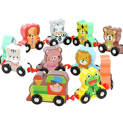 Establish Learning Mathematics Animal Set Color Wooden Number 0~9 Digital Train Building Blocks Children/Baby Educational Toys Learning Train from GRACEON