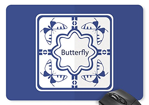 Mouse Mat butterfly Pattern Dark Blue Background Print Mouse -