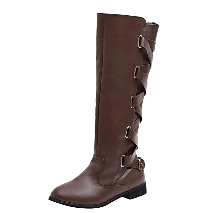 10ce8e86f JiaMeng Zapatos Combat con Correa Moda Mujer Fashion, Zapatos con Hebillas  Roman Riding Knee High Botas de Vaquero Long Boots