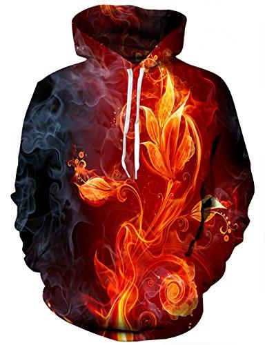 YAJOOEY Unisex Realistic 3D Digital Print Pullover Hoodie Hooded Sweatshirt XX-Large