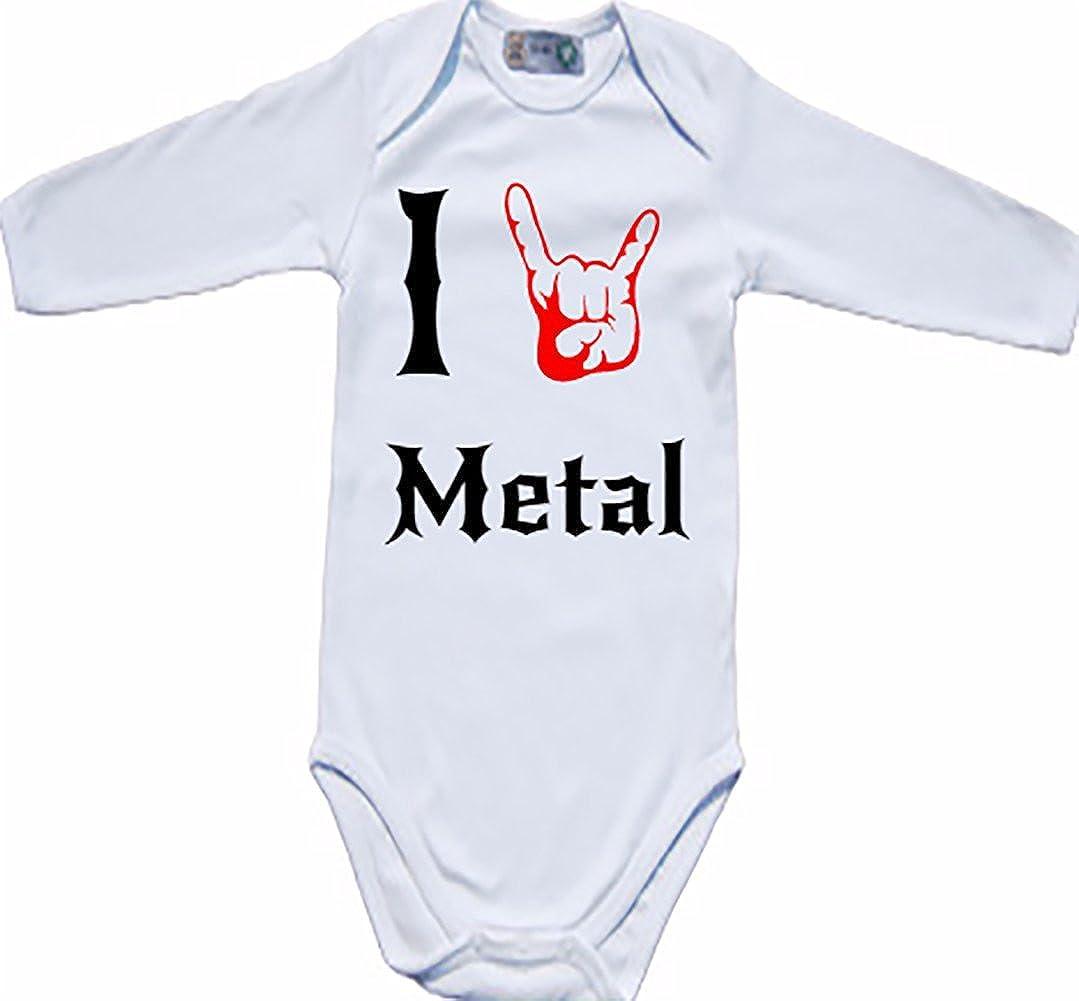 'Body de bébé bio Body manches longues I Love (Coeur/main) Heavy Metal Hard Rock Grenouillère SUK-KLBIL112a