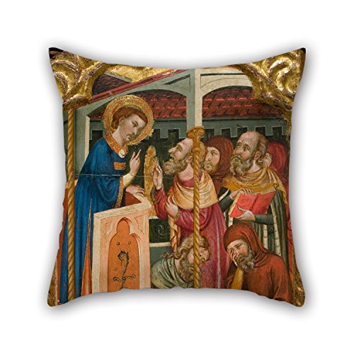 [Artistdecor Oil Painting Circle Of Ferrer And Arnau Bassa - Saint Stephen's Dispute With The Jews Cushion Covers 16 X 16 Inches / 40 By 40 Cm Gift Or Decor For Christmas,gf,bedding,deck] (Bear Jew Costume)