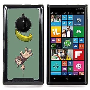 Eason Shop / Premium SLIM PC / Aliminium Casa Carcasa Funda Case Bandera Cover - Plátano Mono Mono Amarillo Dibujo Fruta - For Nokia Lumia 830