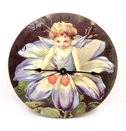 Moonlight & Roses Fairy Petal Wall Clock,Wood,Glitter,Hearts,Numbers,Metal Hands