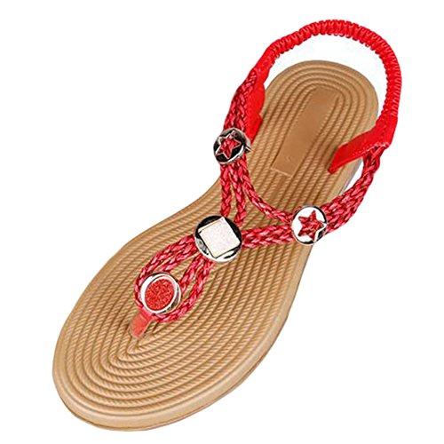 YOUJIA Damen Flats Schuhe Knöchelriemen Roman Geflochtene T-Strap Thong Sandalen Rot