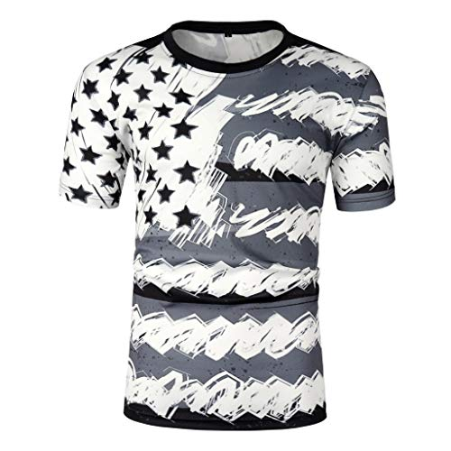 Haluoo Mens American Flag T-Shirt Short Sleeve Patriotic Shirts 4th of July Independence Day USA Flag Blouse Tops Casual Summer Tee Shirt (XX-Large, 3D Printed)