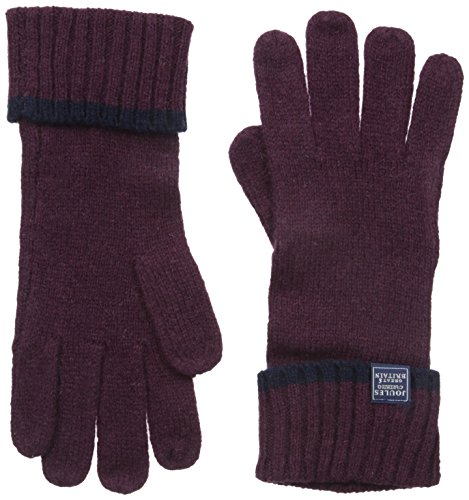 Joules Women's Huddle Knitted Gloves, Dark Plum, One Size
