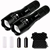 Pack of 2 GenMax Super Bright High Lumens T6 LED Flashlight, 5 Light Modes Max Med Low Strobe SOS, Adjustable & Zoomable, Outdoor Water-Resistant Torch, For Camping Boating Fishing Hunting