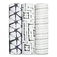 aden + anais silky soft swaddle 3 pack , pebble shibori