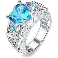 Women Heart Cut Aquamarine 925 Silver Angel Wing Ring Wedding Band Jewelry Gifts (6)