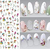 1 Set Flower Series Nail Art Stickers Sakura Daisy Lavender Floral Water Transfer Nails Wrap Paint Tattoos Stamper Plates Templates Tools Tips Kits Delicate Popular Tool Vinyls Decals Kit, Type-03