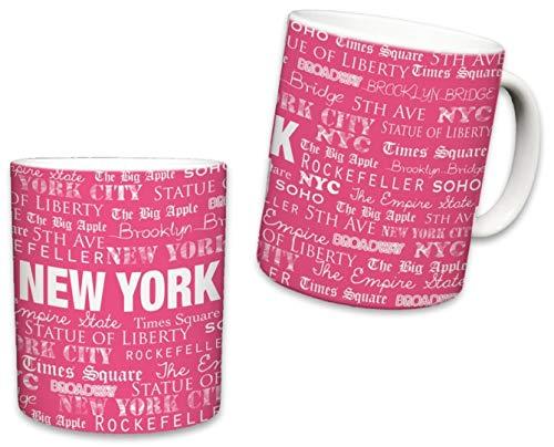 - Sweet Gisele | New York City Mugs | Ceramic NYC Mug | Downtown Manhattan Skyline Coffee Cup | Empire State Building, Statue of Liberty, Brooklyn Bridge | Great Novelty Gift | 11 Fl. Oz (Pink)