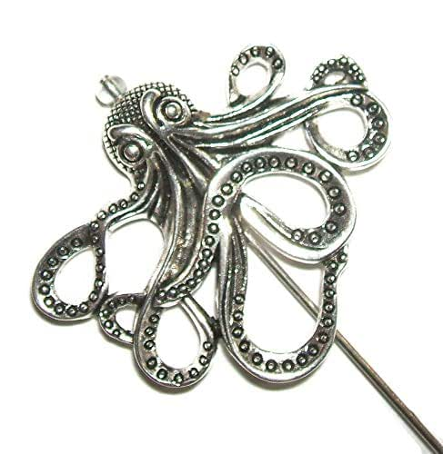 OCTOPUS Stick Hat Pin Long Hatpin Gold Plt Steampunk Vintage Style