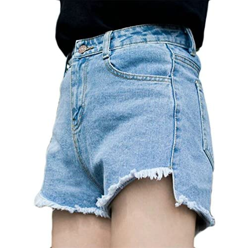 Nice Alion Women's New Pure Color Cowboy High Waisted Washed Raw Edge Irregular Hot Shorts Pants