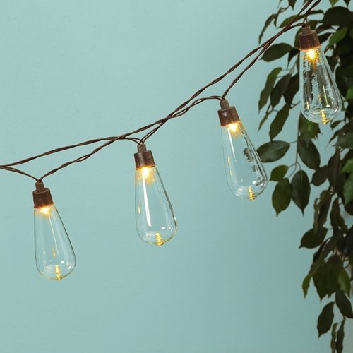 [Globe String Lights, Solar Powered Edison LEDs, 6 Ft, Timer, Warm White] (Steampunk Decorations)