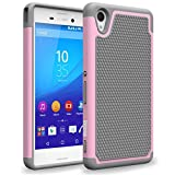 Sony Xperia M4 Aqua Case, INNOVAA Smart Grid Defender Armor Case W/ Free Screen Protector & Touch Screen Stylus Pen - Grey/Light Pink