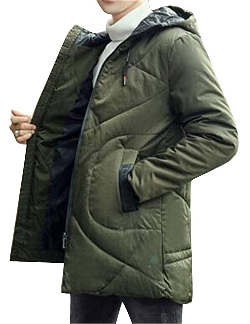 YYG Mens Hooded Loose Fit Thicken Warm Fall Winter Mid Length Quilted Jacket Coat Outerwear