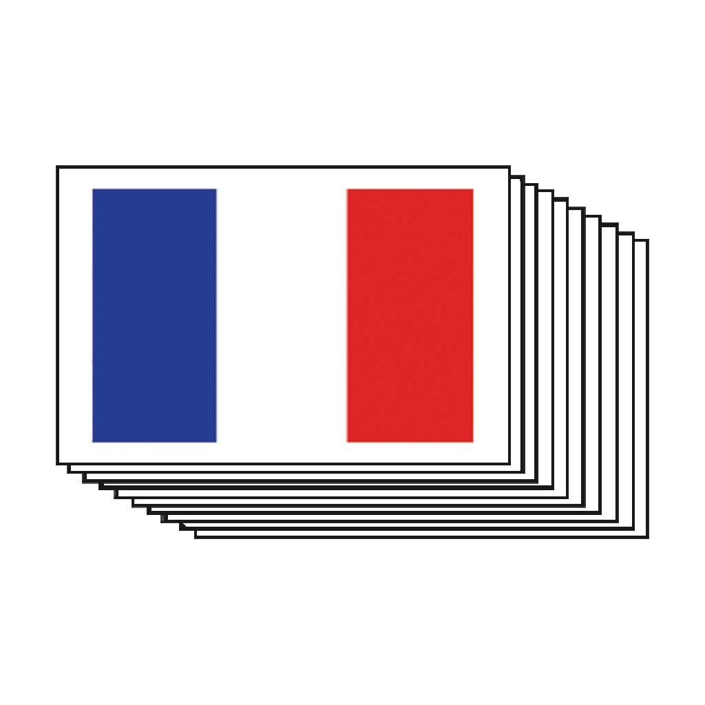 France Flag Temporary Tattoos (10 pack) | Skin Safe | MADE IN THE USA, Removable