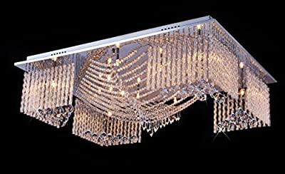 "Saint Mossi Modern Crystal Raindrop Chandelier Lighting Flush mount LED Ceiling Light Fixture Pendant Lamp for Dining Room Bathroom Bedroom Livingroom 13 X G9 Bulbs Required H7"" X W24"" X L32"""