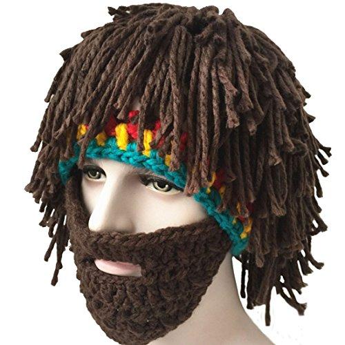 LerBen Men Women Knit Bearded Hats Handmade Wig Winter Warm Ski Mask Beanie