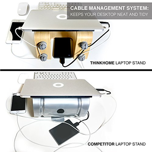 Think Home Ergonomic Bamboo Laptop Stand with Cable & Wire Organizer and Management System (Rubber Cable Holder, & Clips) by Think Home (Image #3)