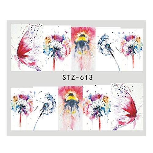 1Pcs New Green Kiwi Leaf Fruit Water Slider Nail Sticker Fantasy Decor Nail Art Foils For Tools STZ613