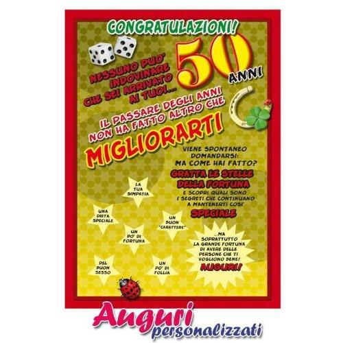 Cartolina Compleanno Auguri 50 Anni Amazon It Giochi E Giocattoli