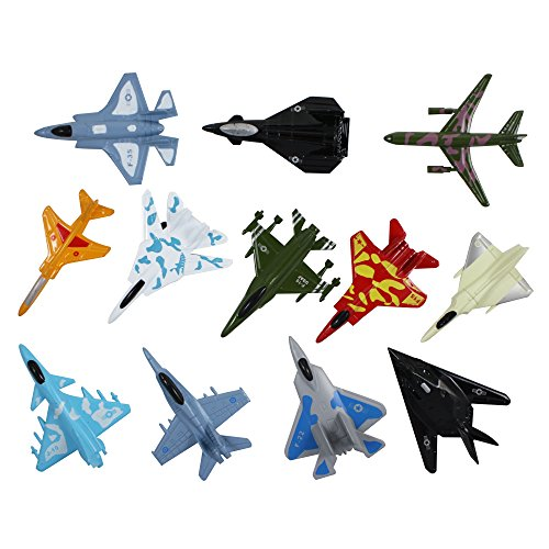 Airplane Toys Set of Die Cast Metal Military Themed  Fighter Jets For Kids, Boys or Girls - Great Gift, Party Favors or Cake Toppers ()