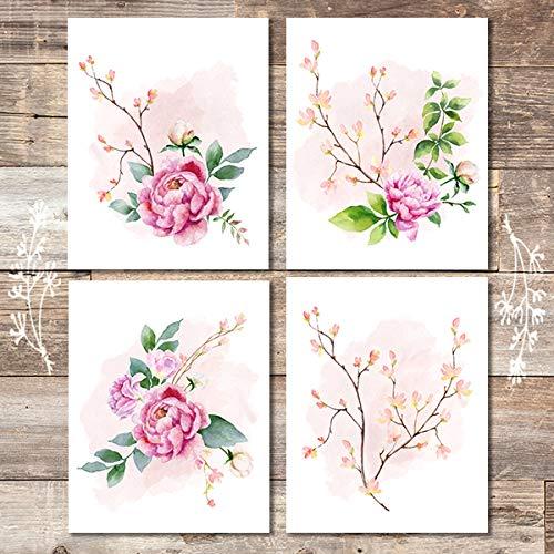 (Floral Wall Decor Art Prints (Set of 4) - Unframed - 8x10s | Botanical Decor)