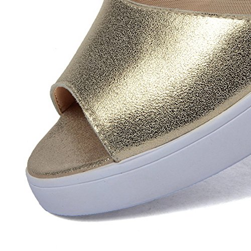 AllhqFashion Womens Solid Cow Leather Low-heels Open Toe Pull-on Sandals Gold twP2sD