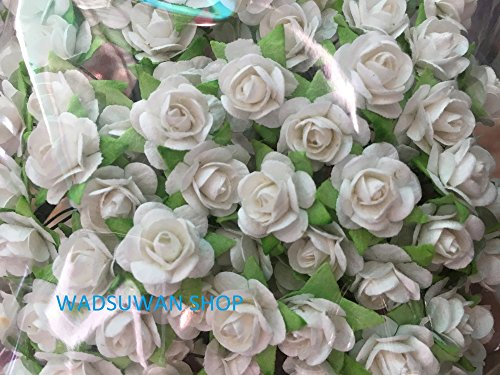Flower Paper Embellishments (100 Pure White Mulberry Roses 10 - 15 mm. Paper Flowers Scrapbooking Embellishment)